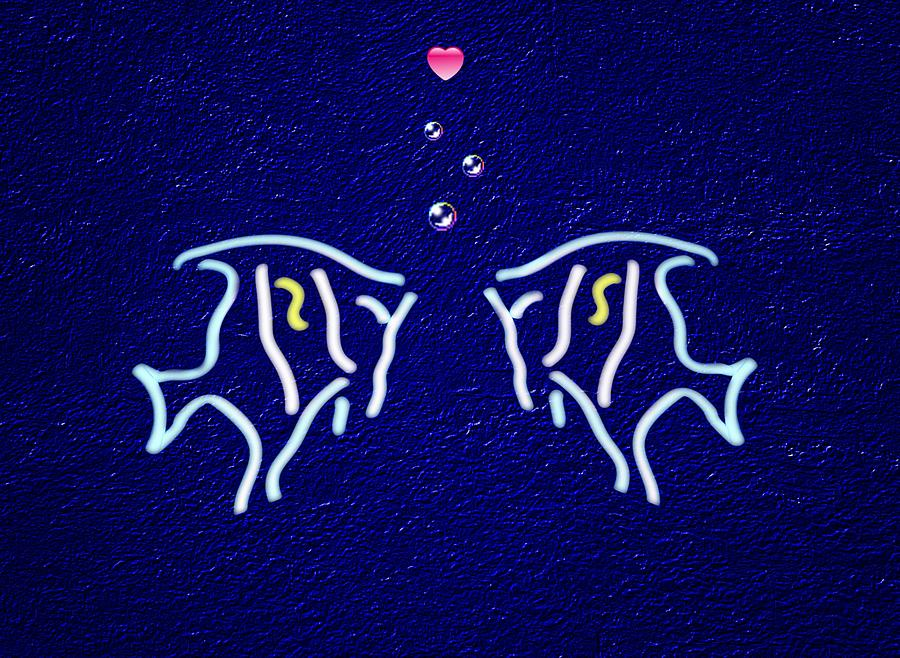 Neon Fish Love Digital Art by David Dehner