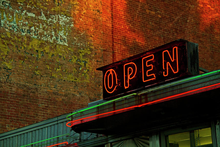 Horizontal Photograph - Neon Open Sign On Old Diner Hotel by Matt Champlin