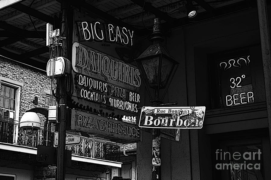 Big easy digital art neon sign bourbon street corner french quarter new orleans black and