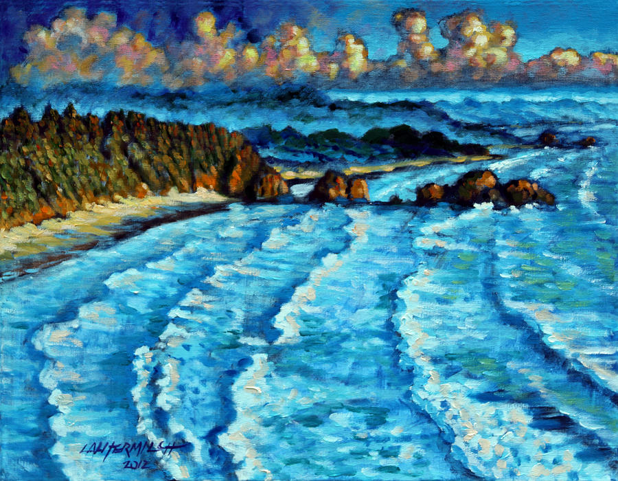 Ocean Painting - Never Ending Waves by John Lautermilch