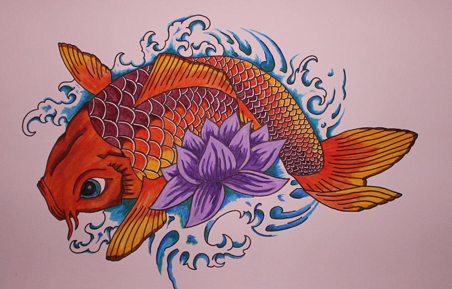 Koi Fish Painting - New Beginnings  by Kat Starr