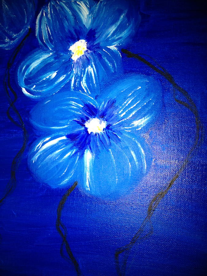 Blue Flower Nature  Painting - New Bloom  by Pretchill Smith