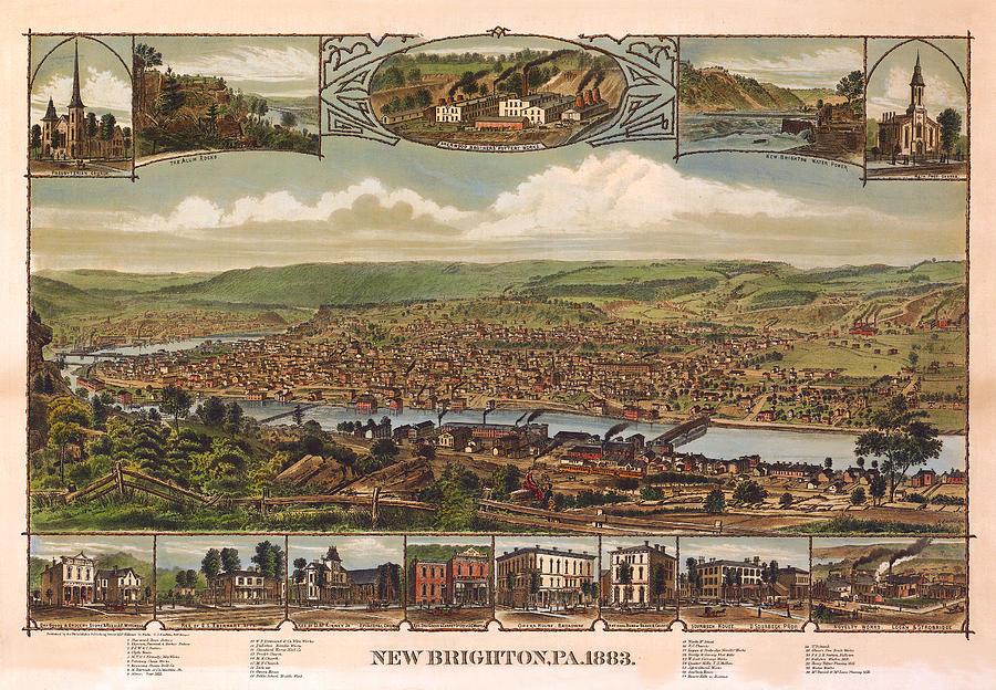 Panoramic Map Digital Art - New Brighton Pennsylvania 1883 by Donna Leach