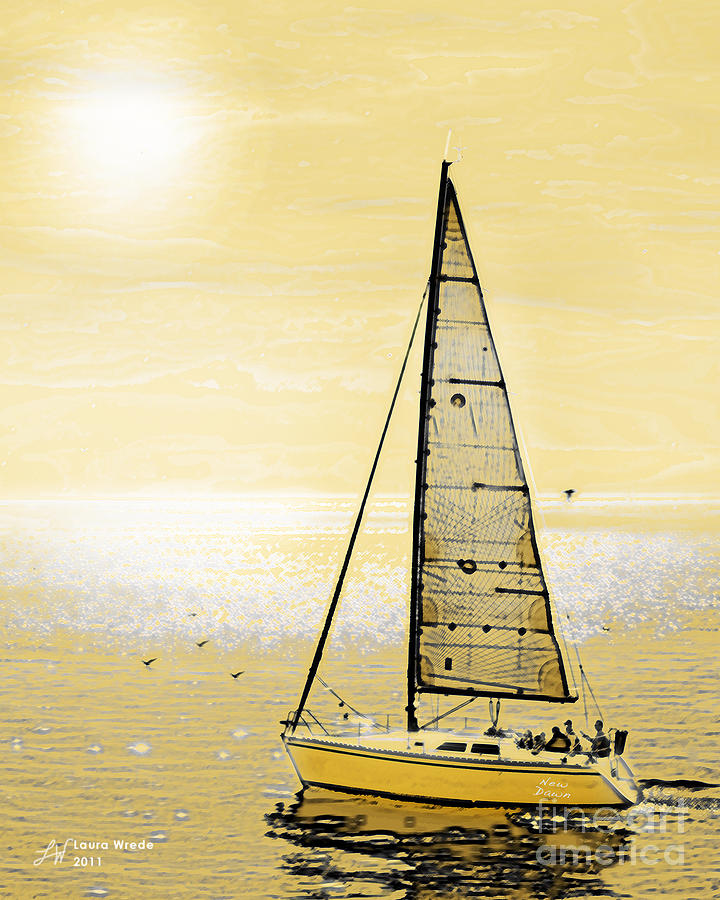 Sailing Painting - New Dawn by Artist and Photographer Laura Wrede