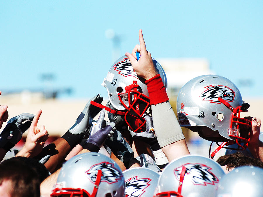 Replay Photos Photograph - New Mexico Football Huddle by University of New Mexico Athletics