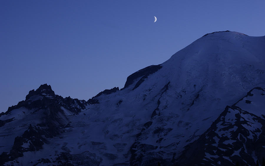 Mt Rainier Photograph - New Moon Blues by Jen Baptist