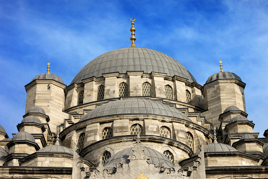 Mosque Photograph - New Mosque Domes In Istanbul by Artur Bogacki
