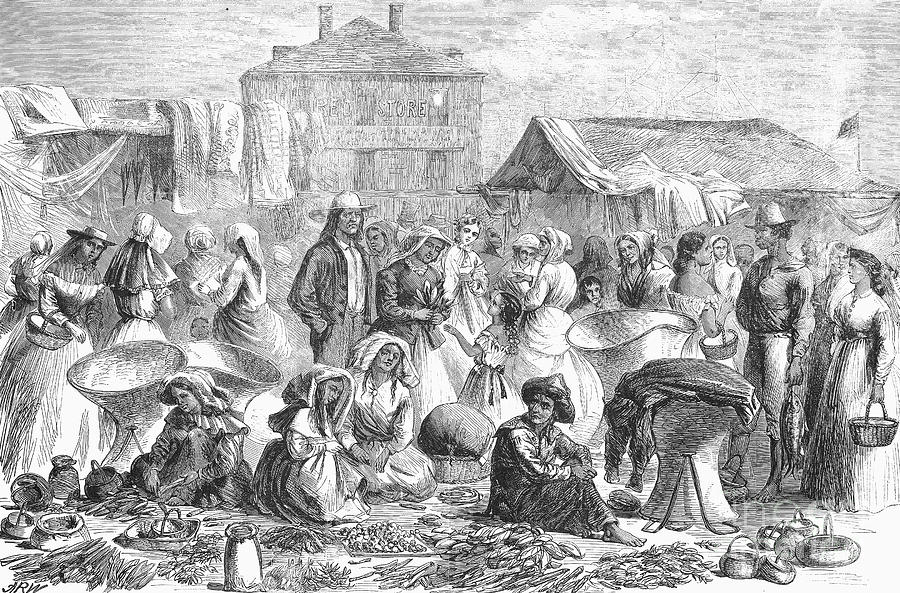 1866 Photograph - New Orleans: Market, 1866 by Granger