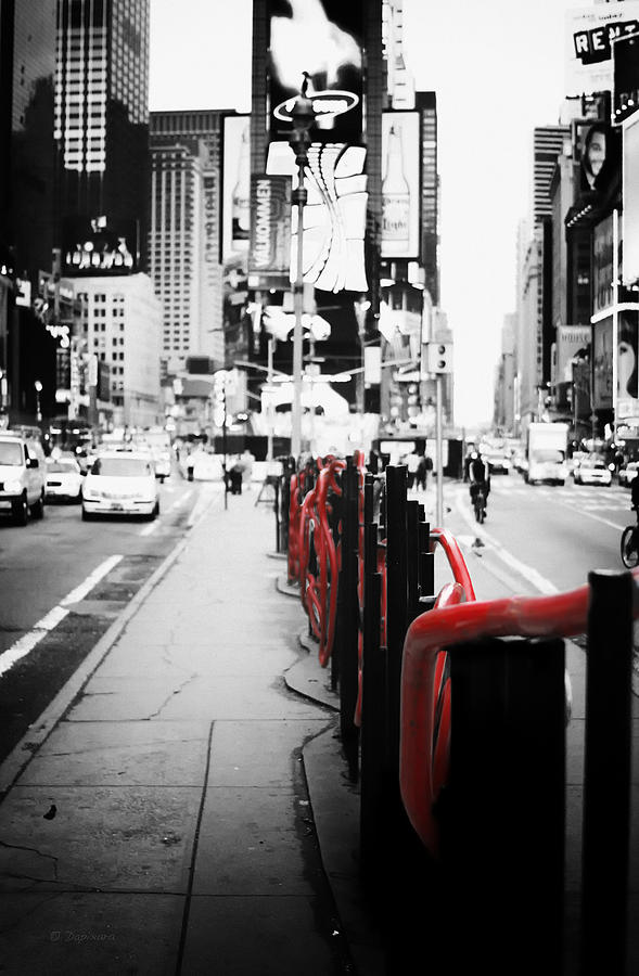 New york photograph new york times square black and white photography with color accents