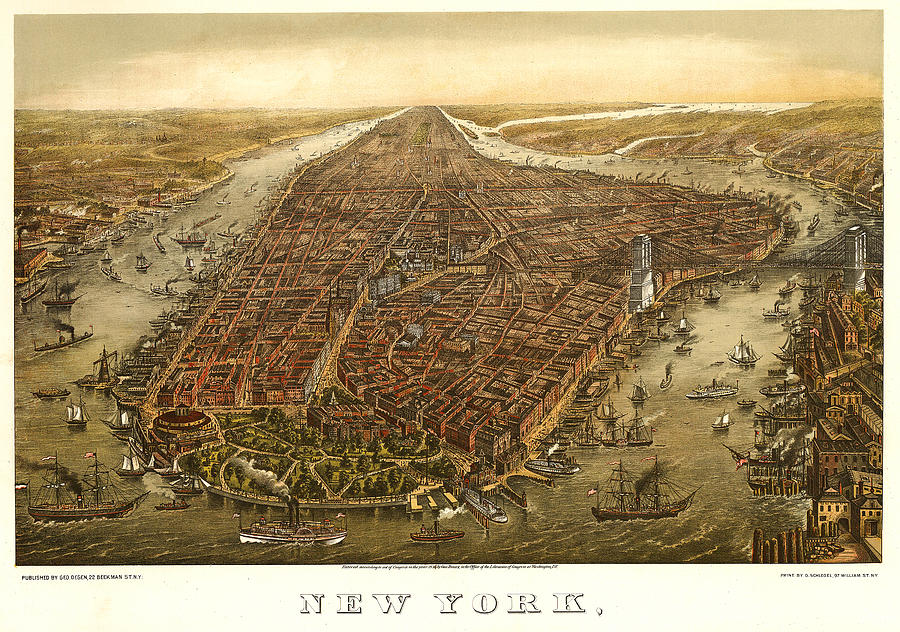 Panoramic Map Digital Art - New York 1873 by Donna Leach