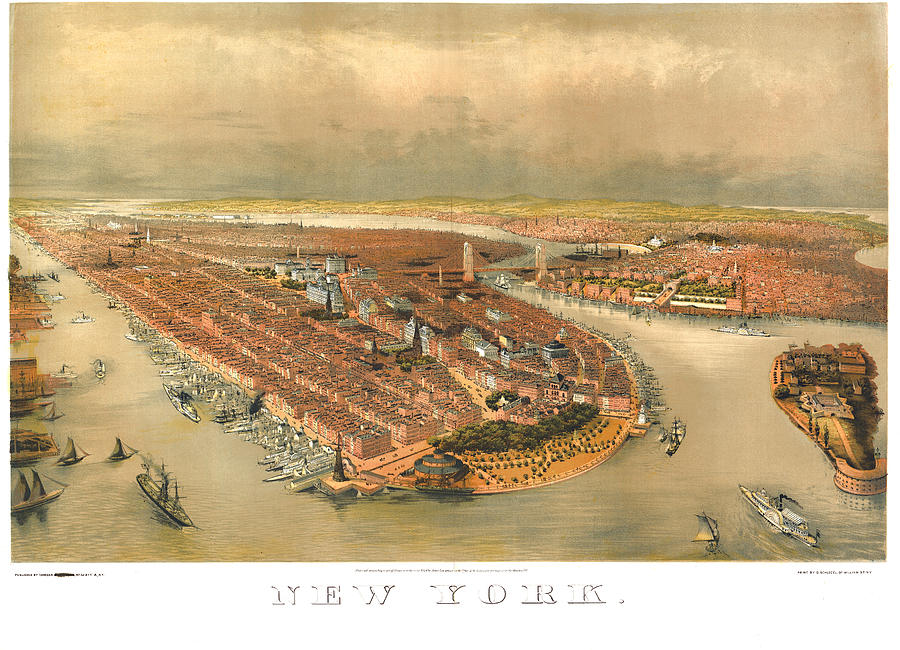 Panoramic Map Digital Art - New York 1874 by Donna Leach