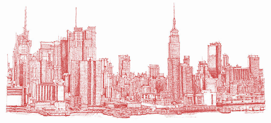 New York City Red Ink Drawing By Building Art