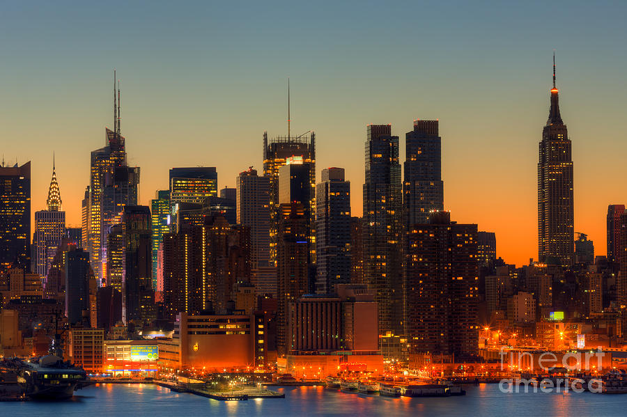 New york city skyline morning twilight vi photograph by for New york skyline painting