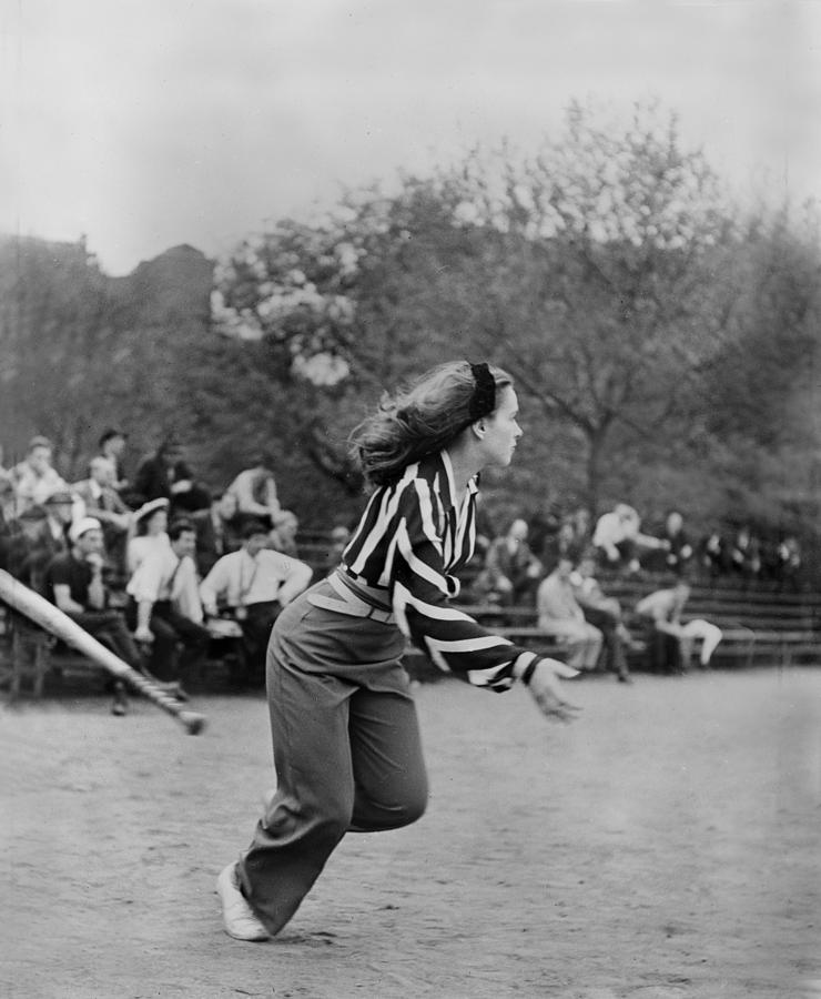 1940s Candid Photograph - New York City, Woman Playing Softball by Everett