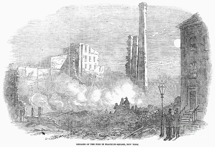 1853 Photograph - New York: Fire, 1853 by Granger