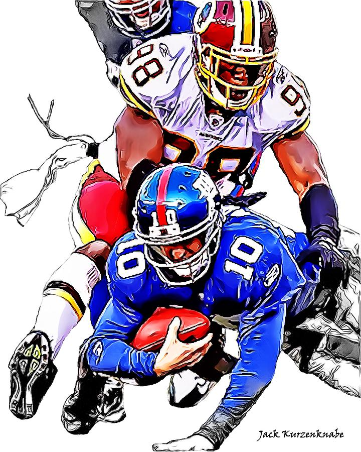 New York Giants Digital Art - New York Giants Eli Manning -san Francisco 49ers Parys Haralson by Jack K