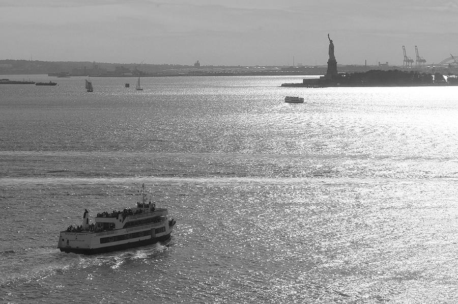 Ferry Photograph - New York Harbor by Christian Heeb