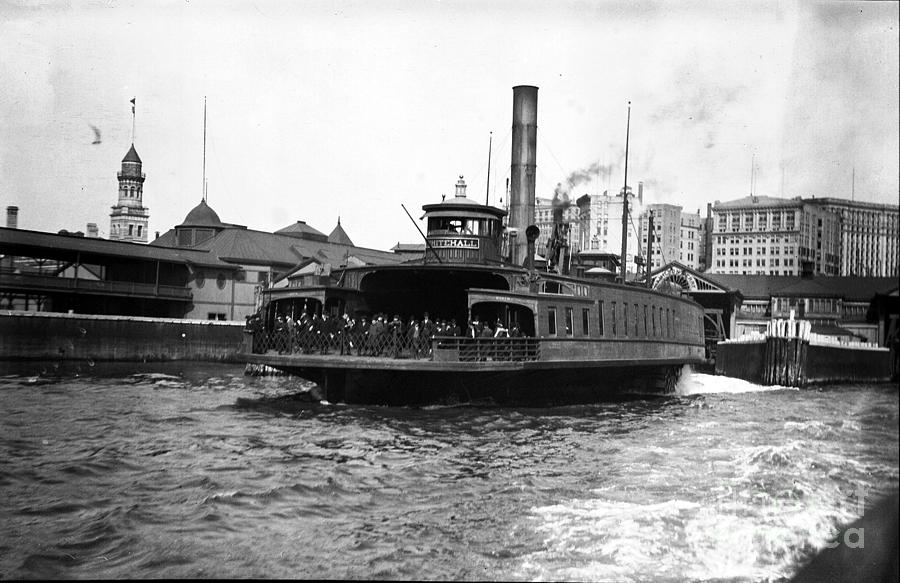 New York City Photograph - New York Harbour Steamship Whitehall Leaving Port A Summers Day In 1904 by Finn Trygvason Klingenberg