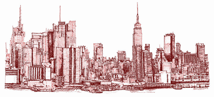 New York Maroon Ink Drawing By Building Art