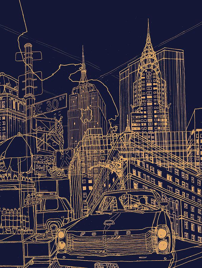 New York Mixed Media - New York Night by David Bushell