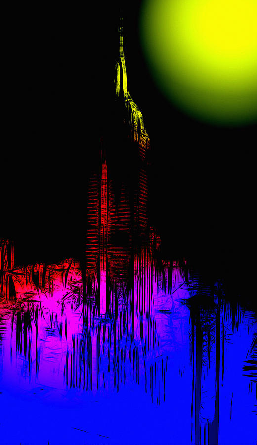 New York Empire State Building Neon Lights Moon Moonshine Color Colorful Abstract Expressionism City Cityscape Skyline Night Ny Big Apple Digital Art - New York Nights by Steve K