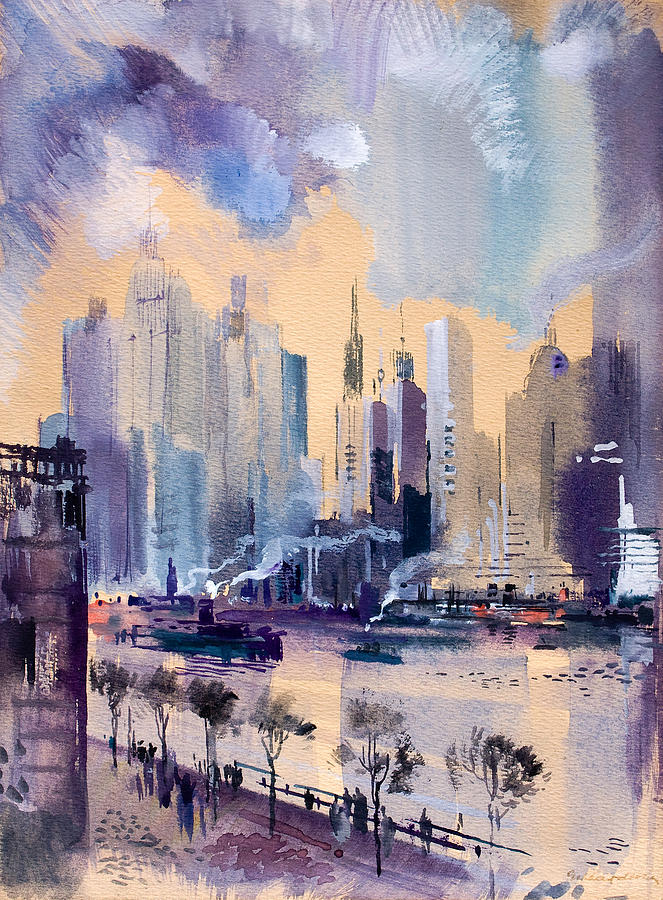 Abstract Painting - New York by Odon Czintos