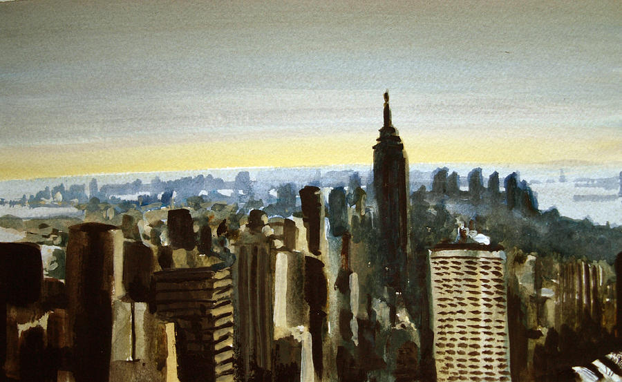 New york skyline painting by paul mitchell for New york skyline painting