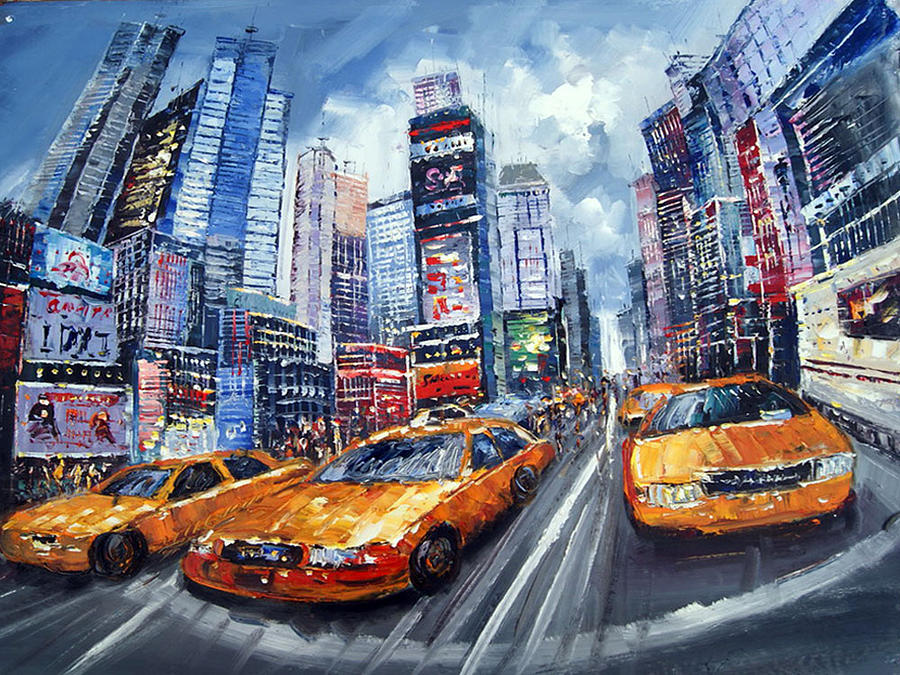 New York Taxi Painting - high textured oil painting - 40x30in Painting by Dzignart abstractartwork com