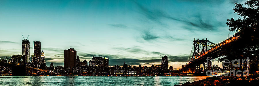 Manhatten Photograph - New Yorks Skyline At Night Ice 1 by Hannes Cmarits