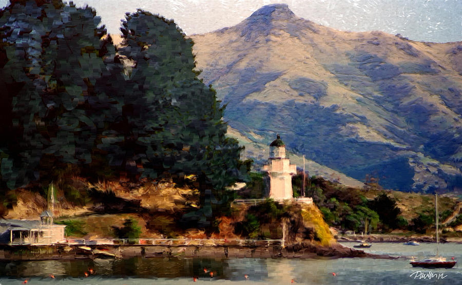 New Zealand Series - Akaroa Lighthouse Digital Art by Jim Pavelle