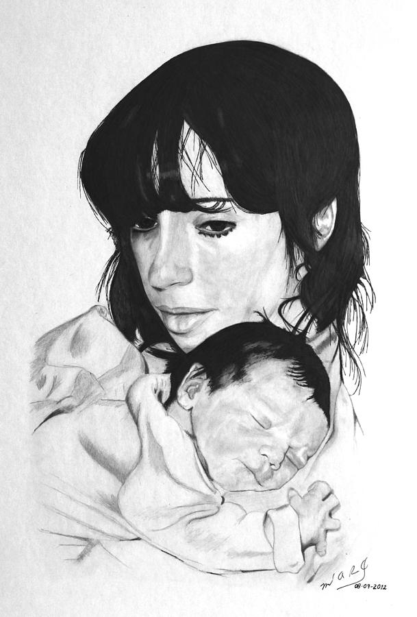 New Drawing - Newborn by Miguel Rodriguez