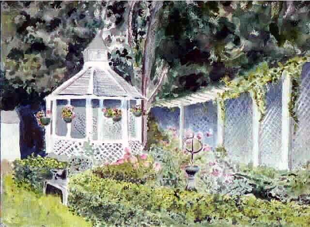 Landscape Painting - Newburyport Gazebo by Linda Pope