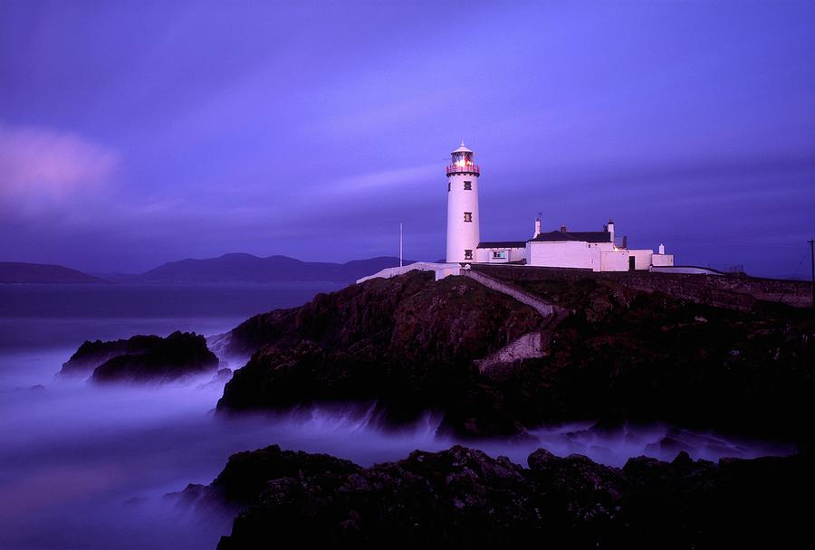 Blue Sky Photograph - Newcastle, Co Down, Ireland Lighthouse by The Irish Image Collection