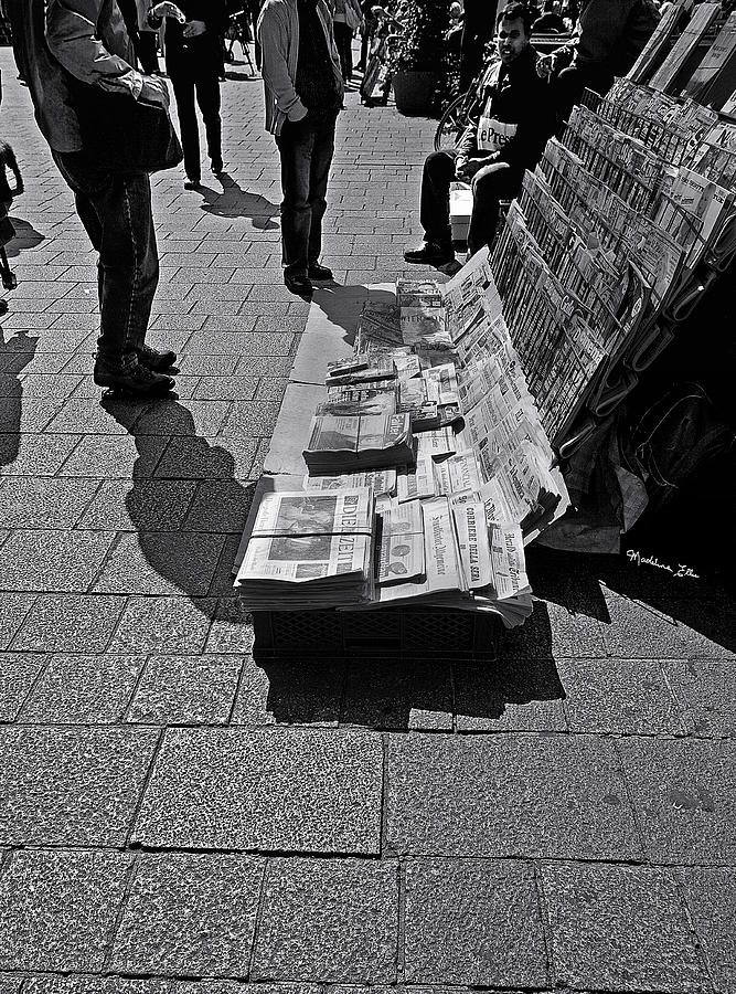 Newspaper Photograph - Newspaper Stand 2 - Vienna by Madeline Ellis
