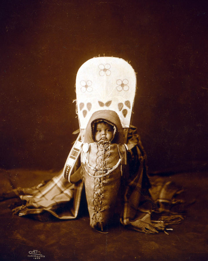 1890s Photograph - Nez Perc� Infant In Cradleboard. Edward by Everett