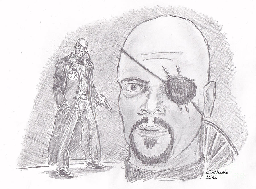 Nick Fury- Director Of S.h.i.e.l.d. Drawing by Chris  DelVecchio