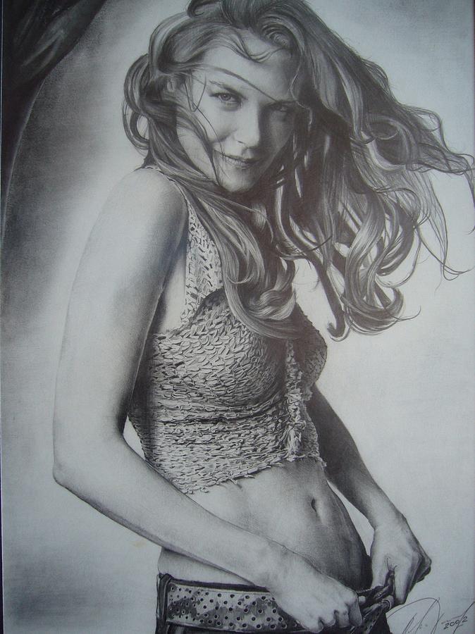 Portrait Drawing - Nicole by Oleg Dashevsky