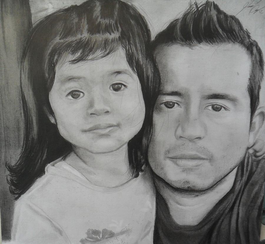 Nicole Y Yo Drawing by Luis Carlos A