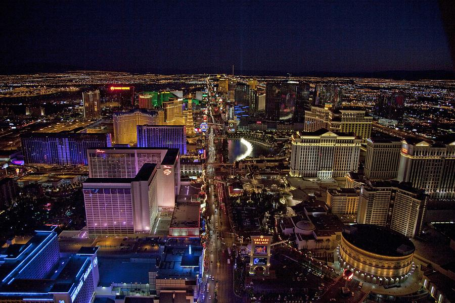 History Photograph - Night Aerial View Of The Las Vegas by Everett