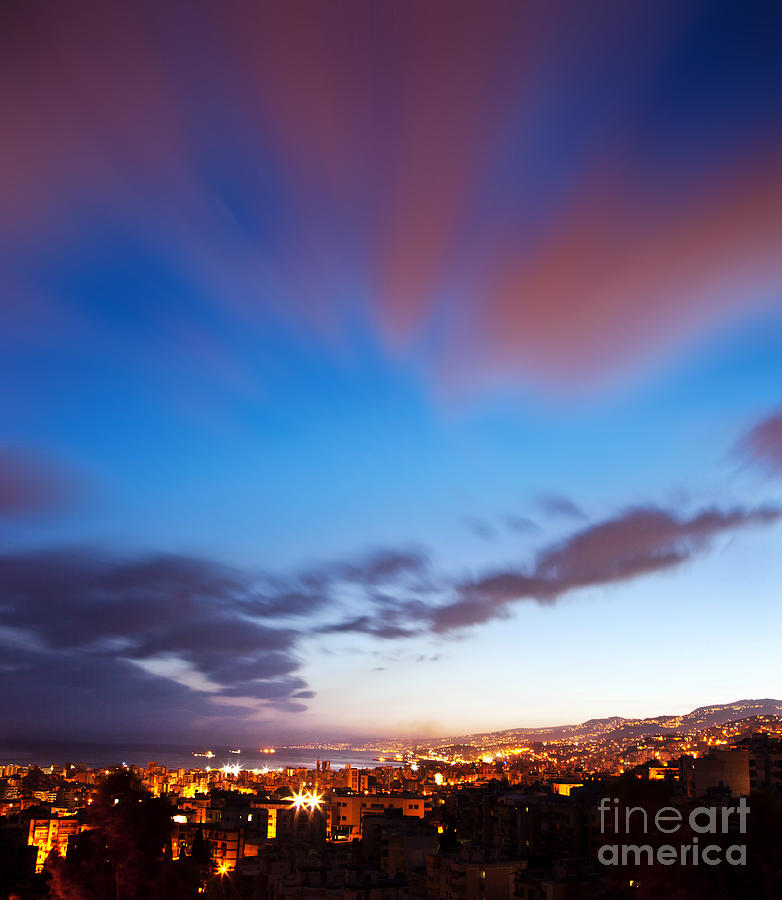 Background Photograph - Night City Landscape  by Anna Om