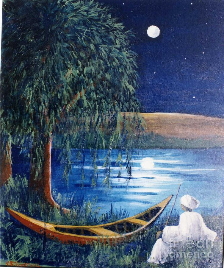 Niger River Painting - Night Dream by Jean Pierre Bergoeing