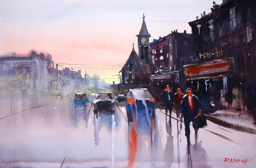 Street Scene Painting - Night Fall - Berlin by Ryan Radke