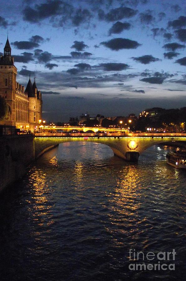Paris Photograph - Night Fall Over The Seine by Shawna Gibson