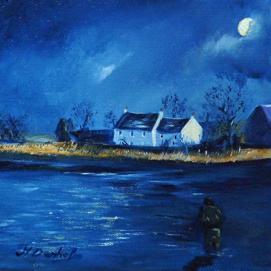 Blue Painting - Night Fishing On The Forth by Margaret Denholm