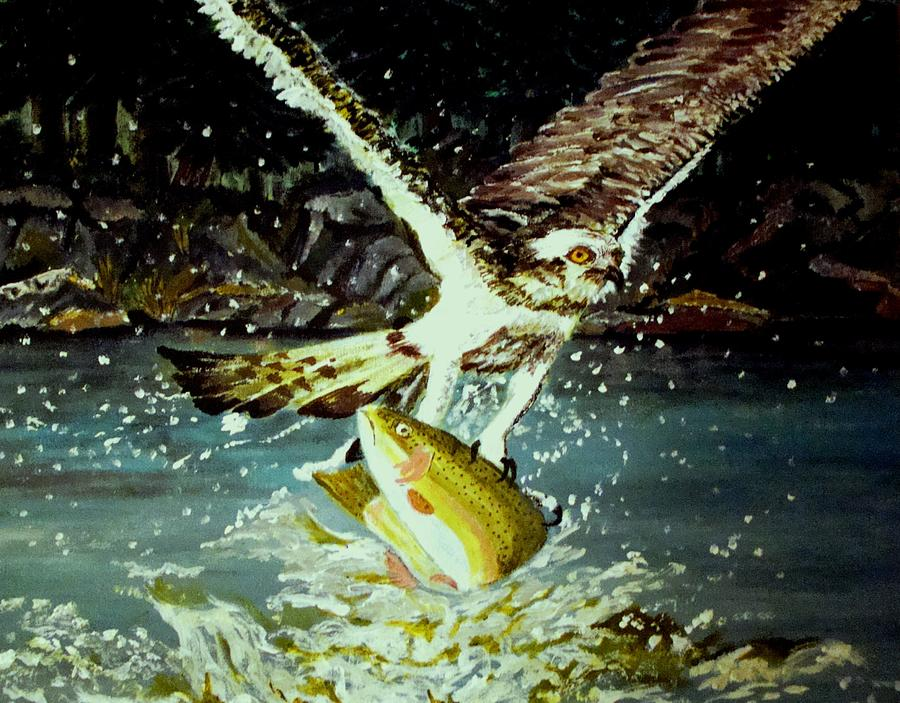 Osprey Painting - Night Fishing by Yvonne Breen