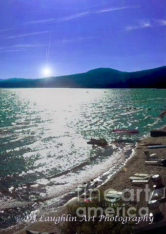 Lake Tahoe Photograph - Night Glimmers by DJ Laughlin
