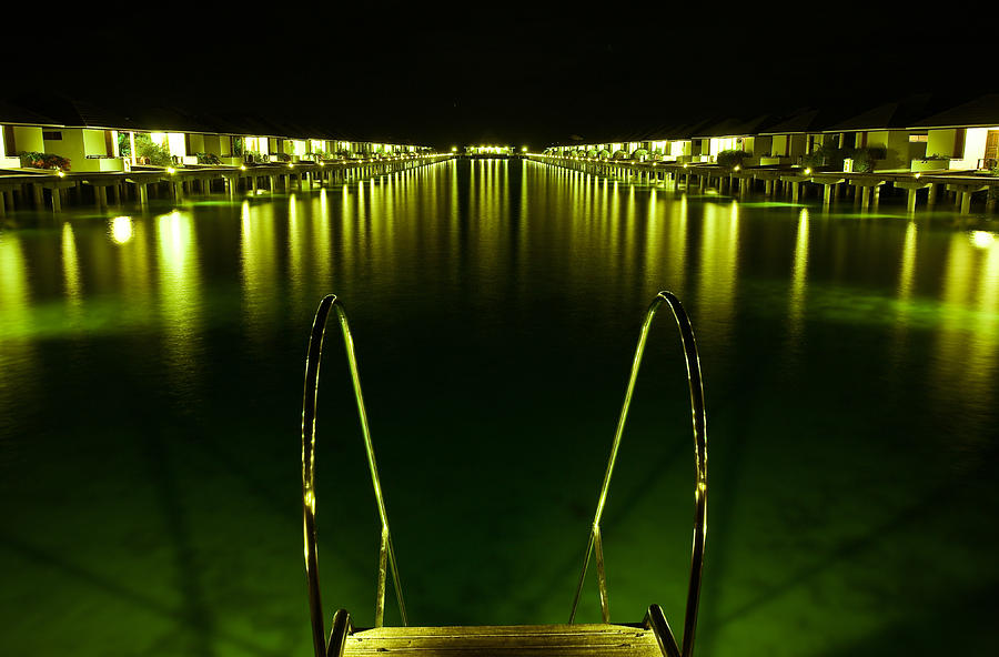 Property Release Photograph - Night. One Day In Paradise. Maldives by Jenny Rainbow