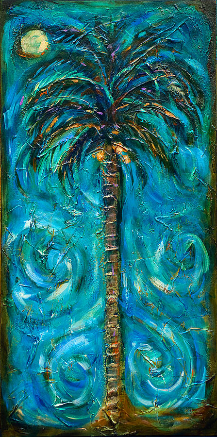 Palm Painting - Night Palm by Linda Olsen
