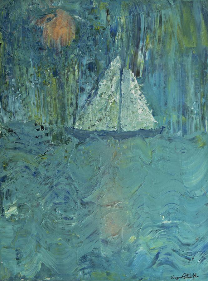 Sailing Painting - Night Sail by Wayne Potrafka