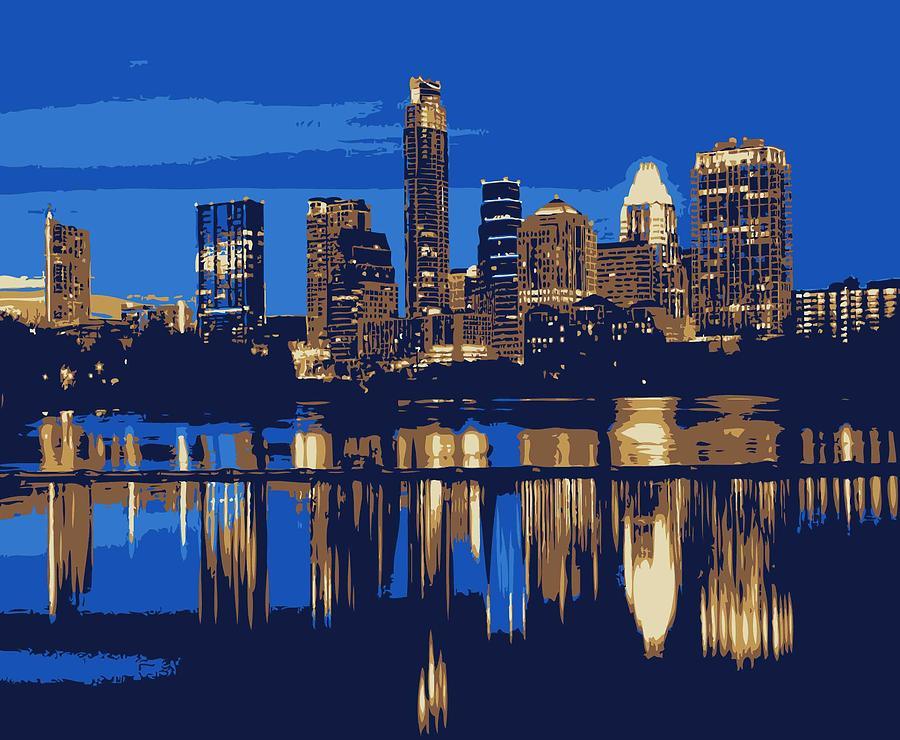 Austin City Limits Photograph - Night Skyline Color 6 by Scott Kelley